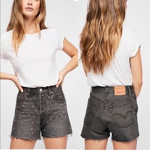 Levi's Wedgie High Rise Bling Bling Jean Short Charcoal Gray Black Size 24